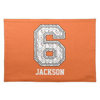 Personalized Baseball Number 6 Place Mats