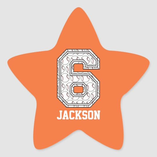 Personalized Baseball Number 6 Star Sticker