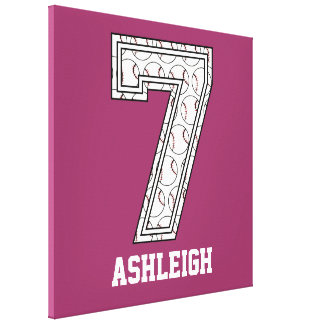 Personalized Baseball Number 7 Canvas Print