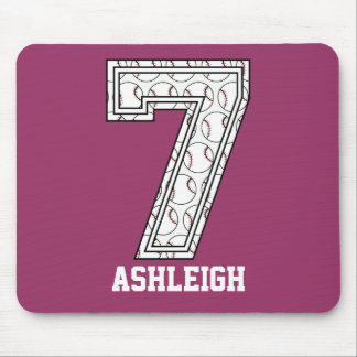 Personalized Baseball Number 7 Mouse Pad