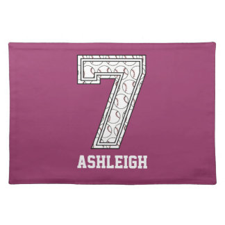 Personalized Baseball Number 7 Place Mats