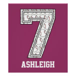 Personalized Baseball Number 7 Posters