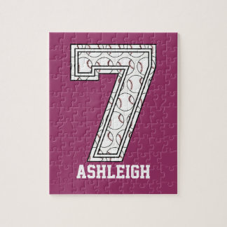 Personalized Baseball Number 7 Puzzle