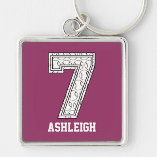 Personalized Baseball Number 7 Silver-Colored Square Keychain