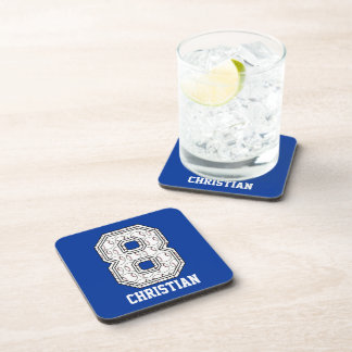 Personalized Baseball Number 8 Coaster
