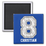 Personalized Baseball Number 8 2 Inch Square Magnet