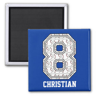 Personalized Baseball Number 8 Magnets