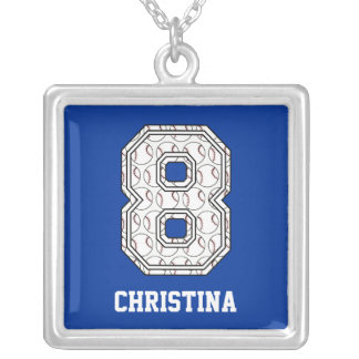 Personalized Baseball Number 8 Necklace