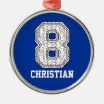Personalized Baseball Number 8 Round Metal Christmas Ornament