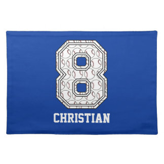 Personalized Baseball Number 8 Placemats