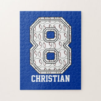 Personalized Baseball Number 8 Puzzles