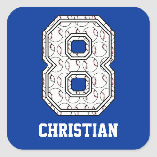 Personalized Baseball Number 8 Square Sticker