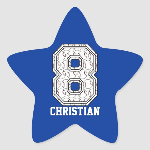 Personalized Baseball Number 8 Star Sticker