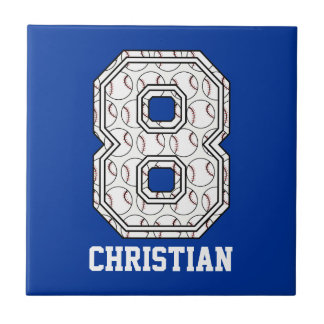 Personalized Baseball Number 8 Small Square Tile