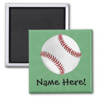 Personalized Baseball on Green Kids Boys 2 Inch Square Magnet
