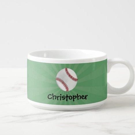 Personalized Baseball on Green Kids Boys Bowl