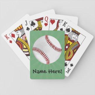 Personalized Baseball on Green Kids Boys Card Deck