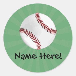 Personalized Baseball on Green Kids Boys Classic Round Sticker