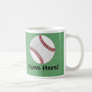 Personalized Baseball on Green Kids Boys Coffee Mug