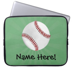 Personalized Baseball On Green Kids Boys Computer Sleeve at Zazzle