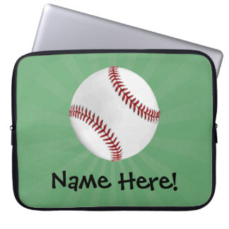 Personalized Baseball on Green Kids Boys Computer Sleeve