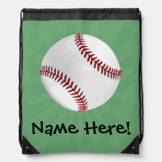 Personalized Baseball on Green Kids Boys Drawstring Backpack