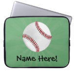 Personalized Baseball on Green Kids Boys Computer Sleeves