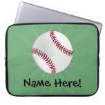 Personalized Baseball on Green Kids Boys Laptop Sleeve