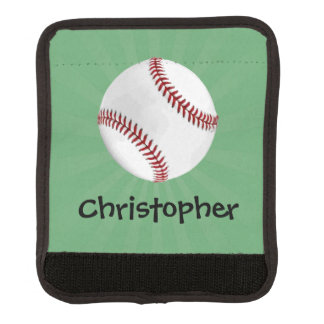 Personalized Baseball on Green Kids Boys Luggage Handle Wrap