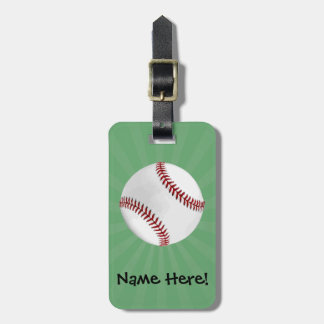 Personalized Baseball on Green Kids Boys Luggage Tag
