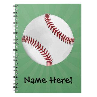 Personalized Baseball on Green Kids Boys Notebook