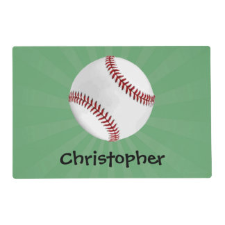 Personalized Baseball on Green Kids Boys Laminated Placemat