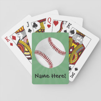 Personalized Baseball on Green Kids Boys Playing Cards