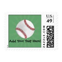 Personalized Baseball on Green Kids Boys Postage