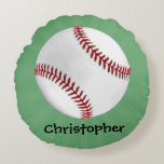 Personalized Baseball on Green Kids Boys Round Pillow