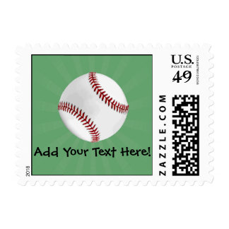 Personalized Baseball on Green Kids Boys Stamp