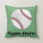 Personalized Baseball on Green Kids Boys Throw Pillow