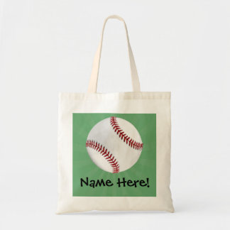 Personalized Baseball on Green Kids Boys Tote Bag