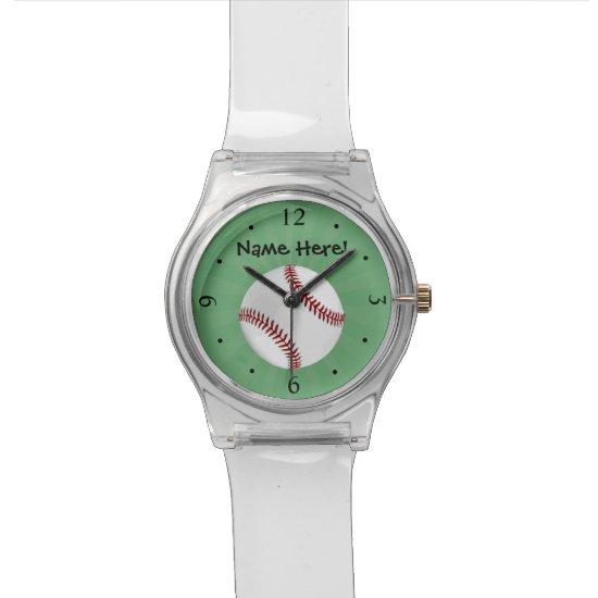 Personalized Baseball on Green Kids Boys Wrist Watch