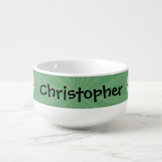 Personalized Baseball on Green Kids Boys Soup Bowl With Handle