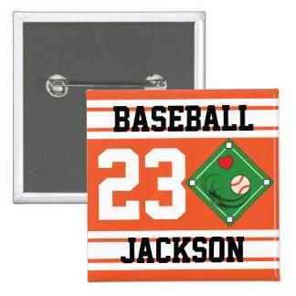 Personalized Baseball Orange Design Button