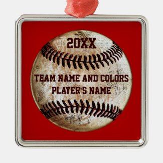 Personalized Baseball Ornaments, Your Colors, Text Square Metal Christmas Ornament