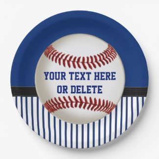 Personalized Baseball Paper Plates Red, White Blue
