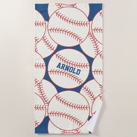 Personalized Baseball Pattern Blue Beach Towel
