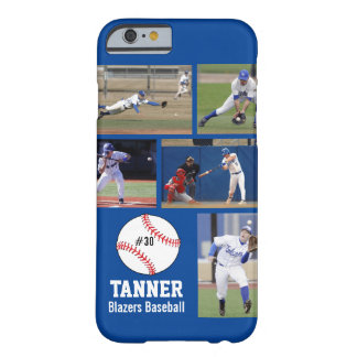 Personalized Baseball Photo Collage Name Team Barely There iPhone 6 Case