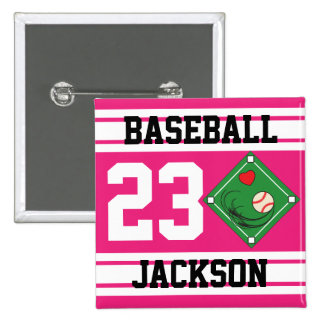 Personalized Baseball Pink Design Pinback Button