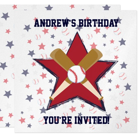 Personalized  Baseball player Birthday party Invitation