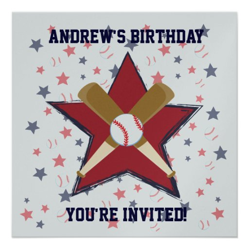 Personalized  Baseball player Birthday party Custom Announcement