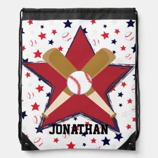 Personalized  Baseball player Drawstring Bag
