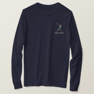 Personalized Baseball Player Embroidered Apparel Embroidered Long Sleeve T-Shirt